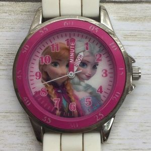 Frozen Pink WATCH WHITE SILICONE BAND New Battery